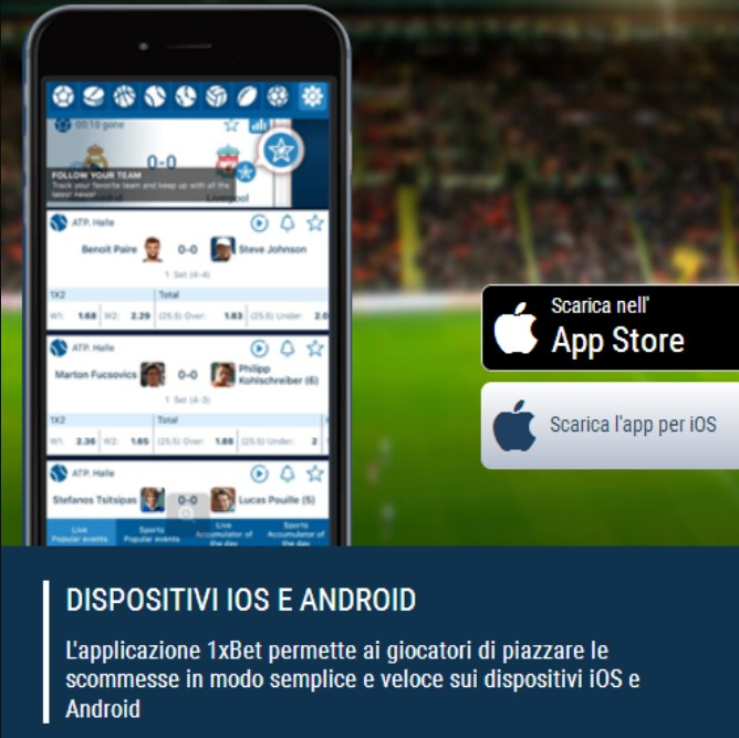 Scarica dell'APP Mobile 1xBet Android
